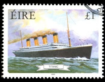 A picture of a stamp commemorating the RMS Titanic