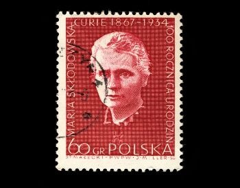 A picture of a stamp with Marie Curie on it