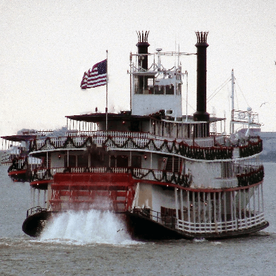 A steamboat on the river