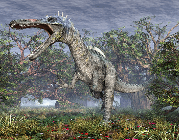 A picture of a Suchomimus in a forest