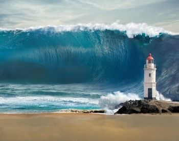 A picture of a lighthouse getting hit by a tsunami