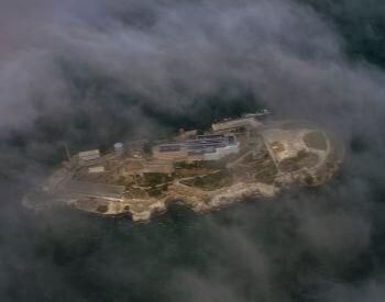 An above ariel picture of Alcatraz and Alcatraz Island