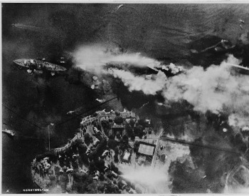 An aerial view of Battleship Row as the Japanese attacked Pearl Harbor