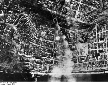 A picture of a bird's eye view of Stalingrad from a bomber