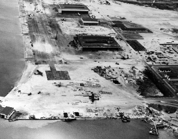 A picture of damage at a Pearl Harbor airfield after the Japanese attack