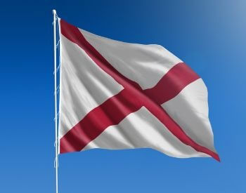 A picture of the U.S. state flag of Alabama