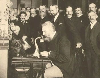 A picture of Alexander Graham Bell and the first long distance line