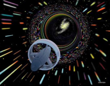 A picture of an artist's rendition of traveling through a wormhole