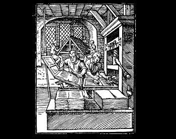 An illustration of an early wooden printing press in 1568