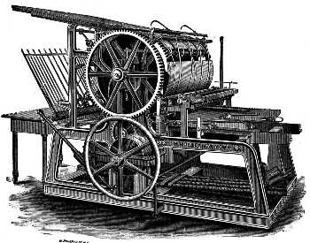An illustration of an early wooden printing press, year unknown