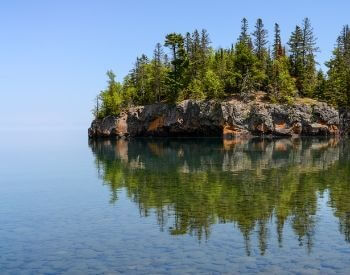 A picture of an island found on Lake Superior