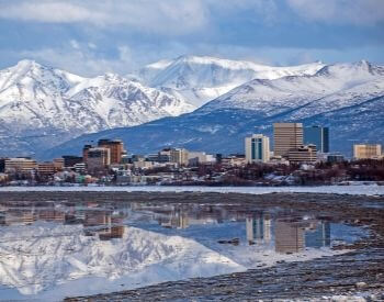 A picture of Anchorage, the most populated city in Alaska