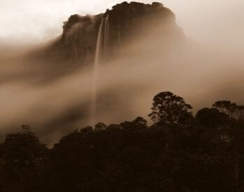 A picture of Angel Falls waterfall in fog