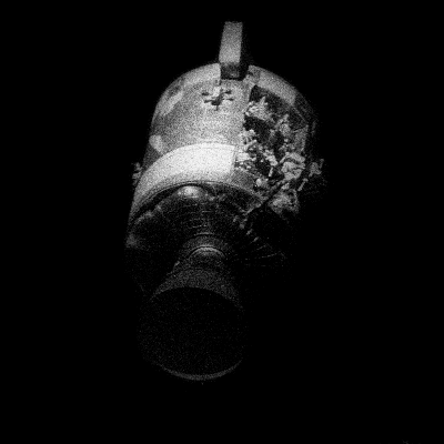 A picture of the damaged service module from Apollo 13