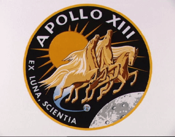 A picture of the Apollo 13 mission patch given to the crew