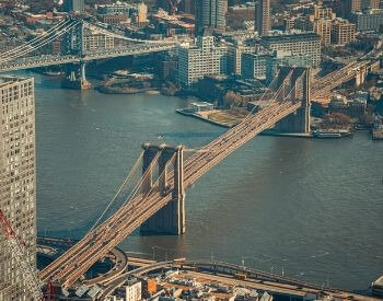 A picture of the Brooklyn Bridge from the sky