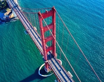 A picture of the Golden Gate Bridge taken by a drone