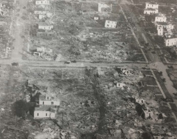 An ariel view of damage in Canton, Illinois from the Tri-State Tornado