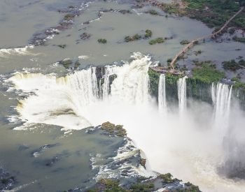 A picture of Iguazu Falls waterfall from above
