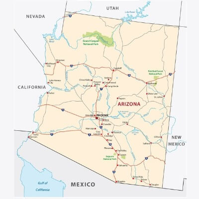 A Map of the U.S. state Arizona