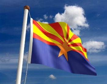 A picture of the U.S. state flag of Arizona
