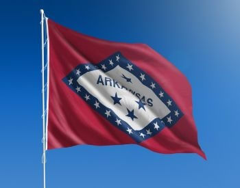 A picture of the U.S. state flag of Arkansas