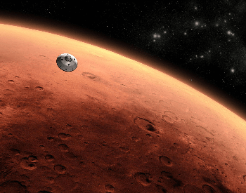 A artist's concept of the Rover Curiosity approaching mars.