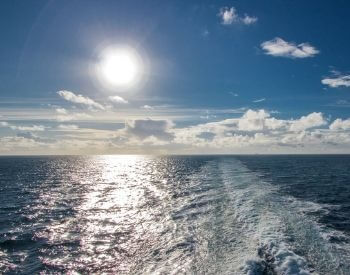 A picture of the Atlantic Ocean and the Earth's horizon