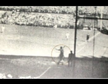 A picture of Babe Ruth pointing in Game 3 of the 1932 World Series