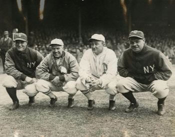 A picture of Babe Ruth and other famous baseball players