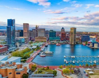 A picture of Baltimore, the most populated city in Maryland, USA