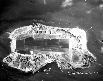 An aerial picture of Battleship Row at Pearl Harbor about a month before the attack happened