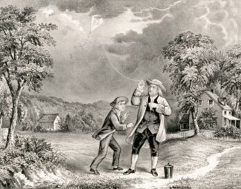 An illustration of the Benjamin Franklin doing his kite experiment