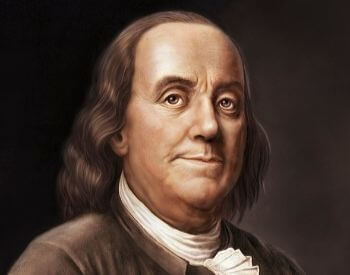 An illustrated colored picture of Benjamin Franklin