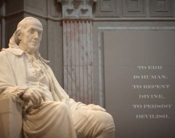 A picture of the Benjamin Franklin National Memorial