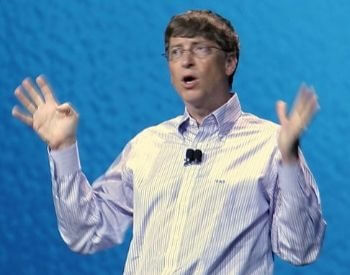 A picture of Bill Gates in 2006 giving a speech