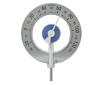 A bimetallic power coil weather thermometer