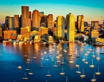 A picture of Boston, the capital city of Massachusetts, USA