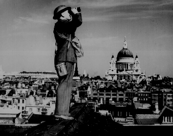 A picture of a british aircraft spotter looking for German planes