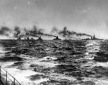 A picture of the British Grand Fleet on the way to meet the Imperial German Navy