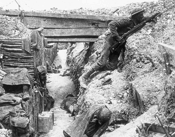 A picture of the British trenches at the Battle of the Somme