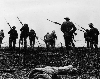 A picture of British troops at the Battle of the Somme