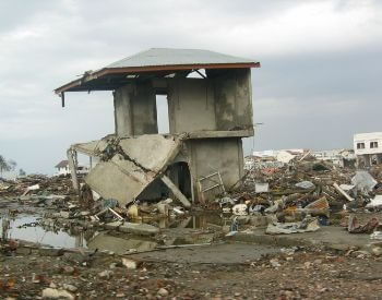 A picture of the damaged caused by a tsunami
