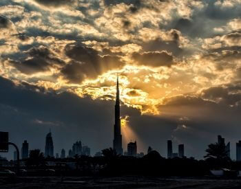 A picture of Burj Khalifa as the sun is setting
