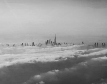 A picture of Burj Khalifa on a foggy day