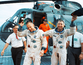 A photo of Buzz Aldrin after he returned from the Gemini 12 mission (far left)