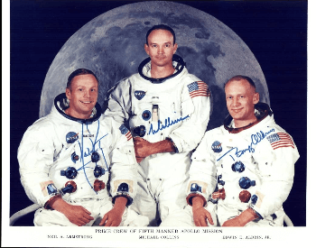 A photo of Buzz Aldrin in the offical crew photo for Apollo 11 (far right)