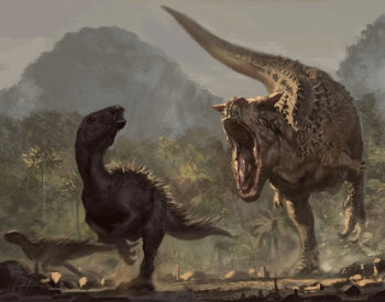 A drawing of a Carnotaurus Attacking a Group of Iguanodons