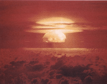A picture of the Bravo mushroom cloud. The Bravo nuclear weapons test was the largest nuclear weapon ever detonated by the USA
