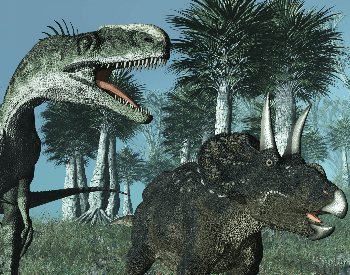 A picture of a Ceratosaurus fighting a Triceratops